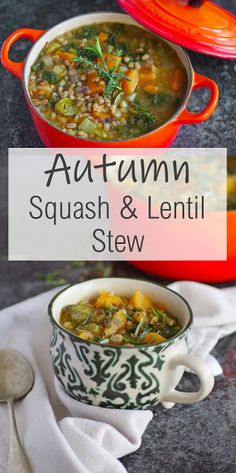 Autumn Squash & Lentil Stew Autumn Squash and Lentil Stew Lentil Recipes, Vegetarian Recipes Easy, Veggie Recipes, Lunch Recipes, Fall Recipes, Soup Recipes, Cooking Recipes, Healthy Recipes, Autumn Recipes Vegan