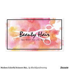 Modern Colorful Scissors Hair Beauty Salon