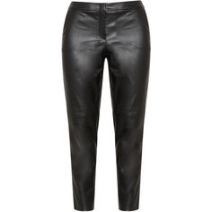 Samoon Black Plus Size Faux leather trousers (1.728.035 IDR) ❤ liked on Polyvore featuring pants, capris, black, plus size, high-waisted trousers, high waisted faux leather pants, women's plus size crop pants, high-waisted pants and zipper pants