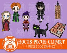 Hocus Pocus Clipart Set - The Sanderson Sisters, Billy Butcherson, binx, Book and the Black Flame Candle Hocus Pocus Characters, Sister Clipart, Movie Clipart, Billy Butcherson, Black Flame Candle, Halloween Film, Sanderson Sisters, Shrinky Dinks, Digital Scrapbooking