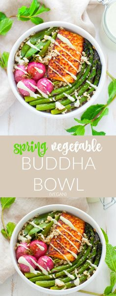 A delightfully refreshing and seasonal dish, this vegan-friendly spring vegetable buddha bowl is packed with seasonal veggies, tofu and a minty creamy cashew dressing. Radish Recipes, Healthy Salad Recipes, Best Vegan Recipes, Vegetarian Recipes, Tofu Recipes, Detox Recipes, Healthy Comfort Food, Healthy Living, Spring Recipes