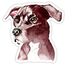 This is a watercolor painting of a pitbull dog. • Also buy this artwork on stickers, apparel, phone cases, and more.