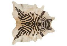 Large Devore Zebra Hide, Brown/Beige | A Moment of Glamour | One Kings Lane