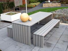 gartenmöbel set 1 + hocker holz, transparent grau - café, Gartenarbeit ideen