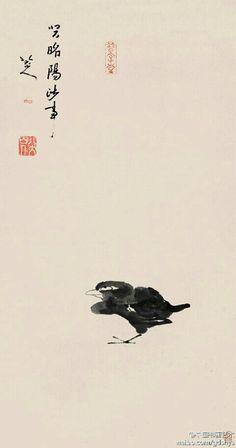 【清 八大山人《孤禽图》】整幅画仅在中下方,绘一只水禽,鸟的眼睛一圈一点,眼珠顶着眼圈,一副白眼向天的神情。形象洗练,造型夸张,表情奇特,构图奇妙。流露出愤世嫉俗之情,透露出雄健简朴之气,反映出孤愤的心境,出人意表的艺术特色,是朱耷艺术成熟期的作品。