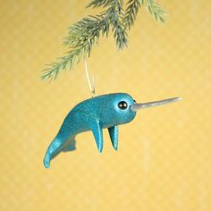 Your place to buy and sell all things handmade Underwater Animals, Narwhals, Try Something New, Merry Little Christmas, Enamel Paint, Deep Purple, Happy Holidays, Horns, Dinosaur Stuffed Animal