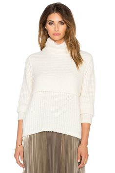 Mason by Michelle Mason Double Layer Turtleneck in Ivory