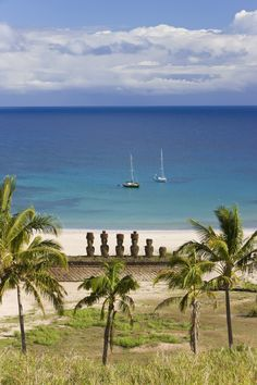 Anakena Beach, Easter Island.  An unusual site on the otherwise rocky coast of Easter Island, the white sand beach at Anakena is also home to several Maoi statues carved by the Rapa Nui people.