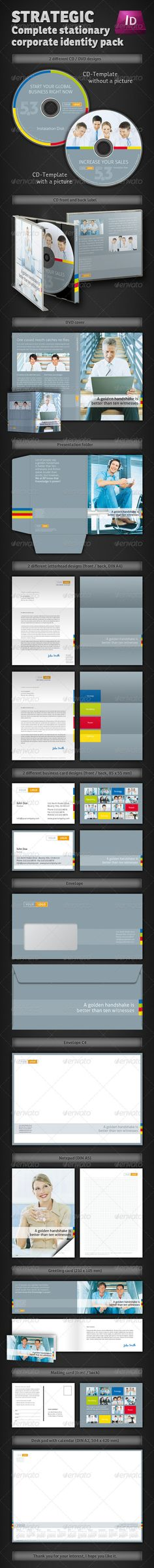 Strategic Corporate Identity Stationary Pack  #GraphicRiver        Strategic Corporate Identity Stationary Pack 	 A complete business stationery within all print stuff you might need in the daily business. The main feature was placed on seriousity and information rather than on experimental design. Clean and modern design without sinless ample white spaces, but with a touch tradition.  	 Just copy & paste your text and replace your own images! Several color variations are possible, the…