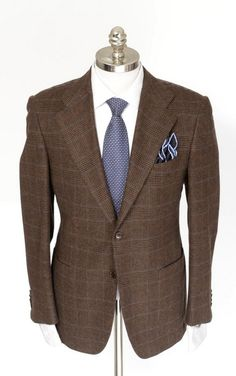 Take it easy, in this KITON Brown Windowpane Wool Cashmere Handmade 2Btn Coat Jacket  |  Get in there! http://www.frieschskys.com/blazers  |  #frieschskys #mensfashion #fashion #mensstyle #style #moda #menswear #dapper #stylish #MadeInItaly #Italy #couture #highfashion #designer #shopping