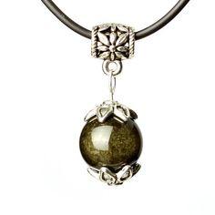 O-stone Wishing Bead Necklace Series Golden Obsidian Pendant Grounding Stone Protection Amulet