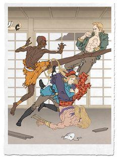 古いけど新しい!ゲームや漫画を浮世絵にしたアート作品「浮世絵ヒーロー」   男子ハック
