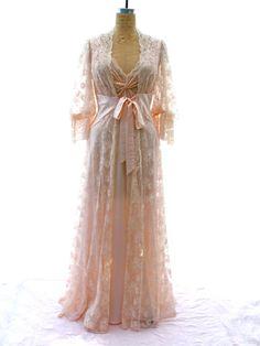 1960s OLGA Lace Peignoir Set via vintagestyleanddecor, $270.00.
