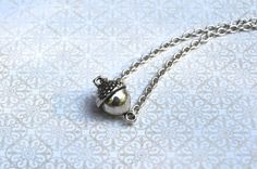 Antiqued Silver Acorn Bead Necklace by skyeshouse on Etsy