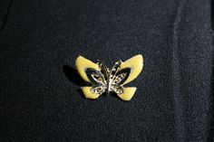 Vintage Cloisonne Butterfly Brooch Yellow Black & Gold tone Butterfly Jewelry Pin by KattsCurioCabinet on Etsy Yellow Black, Black Gold, Butterfly Jewelry, Vintage Jewelry, Unique Jewelry, Charm Jewelry, Charms, Brooch, Cabinet