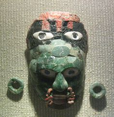 Maya jade and shell mask from the great ancient city of Calakmul. In the Campeche museum Mexico.