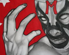 Mil Mascaras charcoal and chalk pastel on paper by ignaciosalinas, $50.00