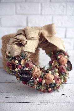 Christmas wreath Burlap Wreath Berry Wreath Rustic Wreath