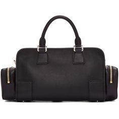 Loewe Black Amazona 28 Pockets Bag (€3.725) ❤ liked on Polyvore featuring bags, leather zipper bag, studded bag, pocket bag, zip bag and duffel bag