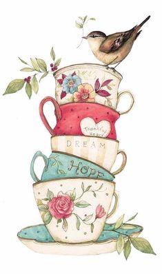Among The Roses - illustrations Tee Kunst, Cup Art, Pintura Country, Decoupage Paper, Watercolor Art, Tea Party, Folk Art, Art Drawings, Tea Cups