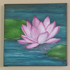 Lotus Flower - Acrylic on Canvas by Jodee Fiedler