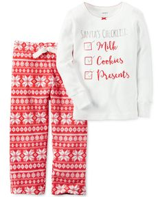 Check snuggly Santa-inspired style off your list with the help of this fun two-piece Carter's pajama set.   Cotton   Machine washable   Imported   Top: bow detail at picot crew neck; ribbed cuffs at l