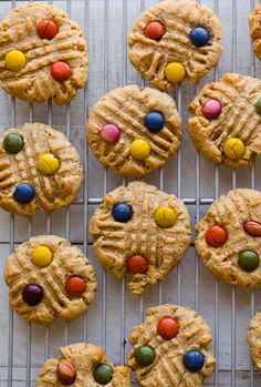 Easy, amazing Peanut Butter Candy-Topped Cookies are colorful and fun for spring baking. Chewy and nutty with peanut butter chocolate flavor.