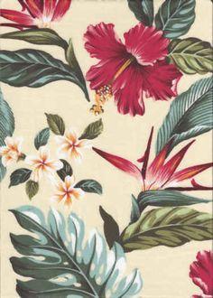30puaki Tropical Hawaiian Plumeria, Bird of Paradise & Hibiscus flowers cotton barkcloth fabric.  More fabrics at: BarkclothHawaii.com