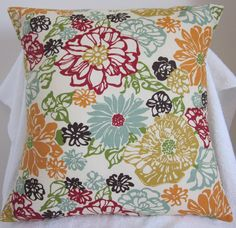 Floral Pillow Cover 16x16  Throw Pillow Cover by BestBetDesign