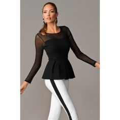 BOSTON PROPER PONTE MESH PEPLUM TOP PROPER BLACK