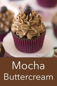 One of my favorite icings is flavored with coffee and a bit of chocolate. This versatile, Mocha Buttercream frosting from Preppy Kitchen will compliment many different flavors. It may even become your go-to cupcake topping or cake filling. #mochabuttercream #mochafrosting #buttercreamfrosting