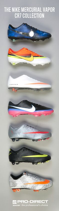 A look back through the Entire Nike CR7 collection  http://www.prodirectsoccer.com/lists/nike-football-boots-speed.aspx