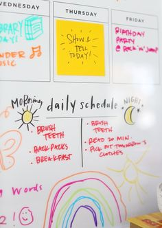 Kids organization ideas - Help your little creatives know what's on their schedule for the day, week, and weekend with the Kids Creatives Calendar™. Keep track of chores and homework with ease and lots of color! Customize your versatile Creatives Calendar™ at Lindsay Letters.