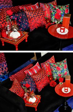 Cushion Cover Designs, Cushion Covers, Red Interior Design, Interior Decorating, Maximalist Interior, Rose Trellis, Red Cushions, Red Rooms, Roomspiration