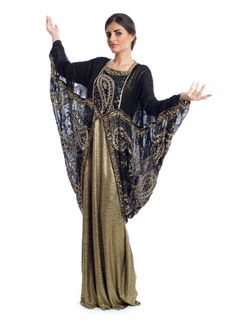 A splendid Noora Black and Gold Maxi Dress with royal Sequined finish, layered design, Square neckline and long dolman sleeves will add a trendy touch for your evening looks!