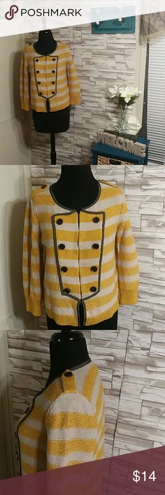 Loft Sweater Mustard yellow and cream striped military sweater with hook and eye closure. LOFT Sweaters