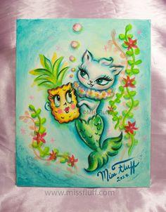 A sweet little mermaid kitty holding an enchanted pineapple! Perfect for a tropical themed room or tiki bar ! Original Art by Claudette Barjoud, a.k.a Miss Fluff. www.missfluff.com #missfluff #tikiart #mermaidart #kawaiiart