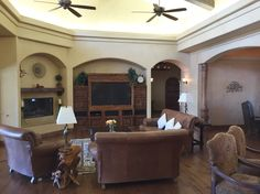 Tuscan Style 4,579 Sq Ft, 4 Bdrm, 7 Bath Lakefront Home - Living Room