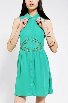 Pins And Needles Lace Inset Shirtdress in  from Urban Outfitters on shop.CatalogSpree.com, your personal digital mall.