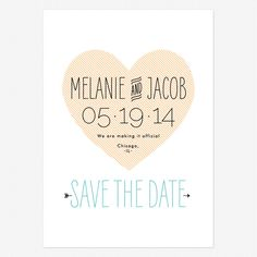 Heart to Heart Save the Date Cards www.lovevsdesign.com