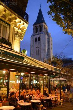 The Saint-Germain-des-Prés area in Paris. Les Deux Magots cafe