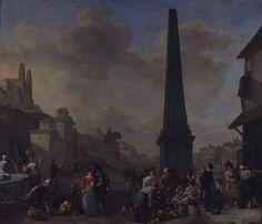 Johannes Lingelbach - De kwakzalver, Piazza del Popolo te Rome