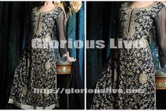 Navy Blue  gorgoes dress with stylish hand made spring embroideriy  with stylish gold zari , dabka embroidery over full kameez style with pretty spring. Awesome look.. Exquisite long pakistani outfits with stunning looks