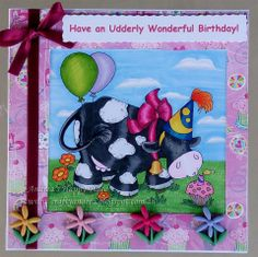Bright, cute cow birthday card
