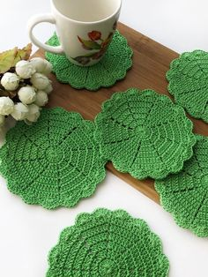 Excited to share this item from my shop: Green crochet cup coasters for tea time, mini coasters, living room decor, round coffee mug coaster, green crochet holders Crochet Coaster Pattern, Crochet Doily Patterns, Crochet Doilies, Love Crochet, Crochet Gifts, Handmade Christmas Gifts, Handmade Gifts, Cup Coaster, Decoration Table