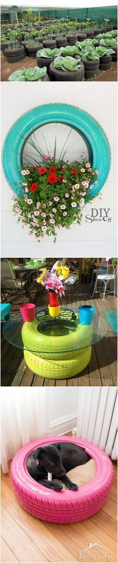 Raised garden beds out of old tires Diy Garden Projects, Garden Crafts, Outdoor Projects, Garden Art, Garden Design, Tire Garden, Raised Garden Beds, Raised Gardens, Raised Beds
