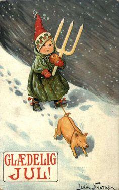 DigitaltMuseum - Julekort. Jule-og nyttårshilsen. Vintermotiv. En liten jente på tur i snøvær. Hun bærer på en lysestake og holder en gris i bånd. Illustrert av Jenny Nyström (svensk) 1854-1946. Stemplet 24.12.1913.