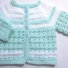 Baby sweater set - 0 to 3 months - Mint green baby outfit - Baby shower gift - Crochet baby clothing - Baby coat hat boots - Gift for baby Baby Cardigan, Cardigan Bebe, Baby Girl Cardigans, Crochet Baby Sweaters, Crochet Baby Clothes, Baby Knitting, Baby Girl Crochet, Crochet For Boys, Baby Sweater Patterns