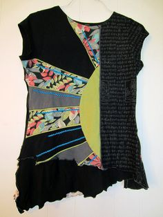 Upcycled cap sleeve funky Tee fits S M by monapaints on Etsy, $98.00