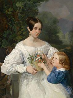 .:. Briullov , Karl Pavlovich ( 1799-1852 ) Portrait of Grand Duchess Elena Pavlovna and her daughter Maria , 1830